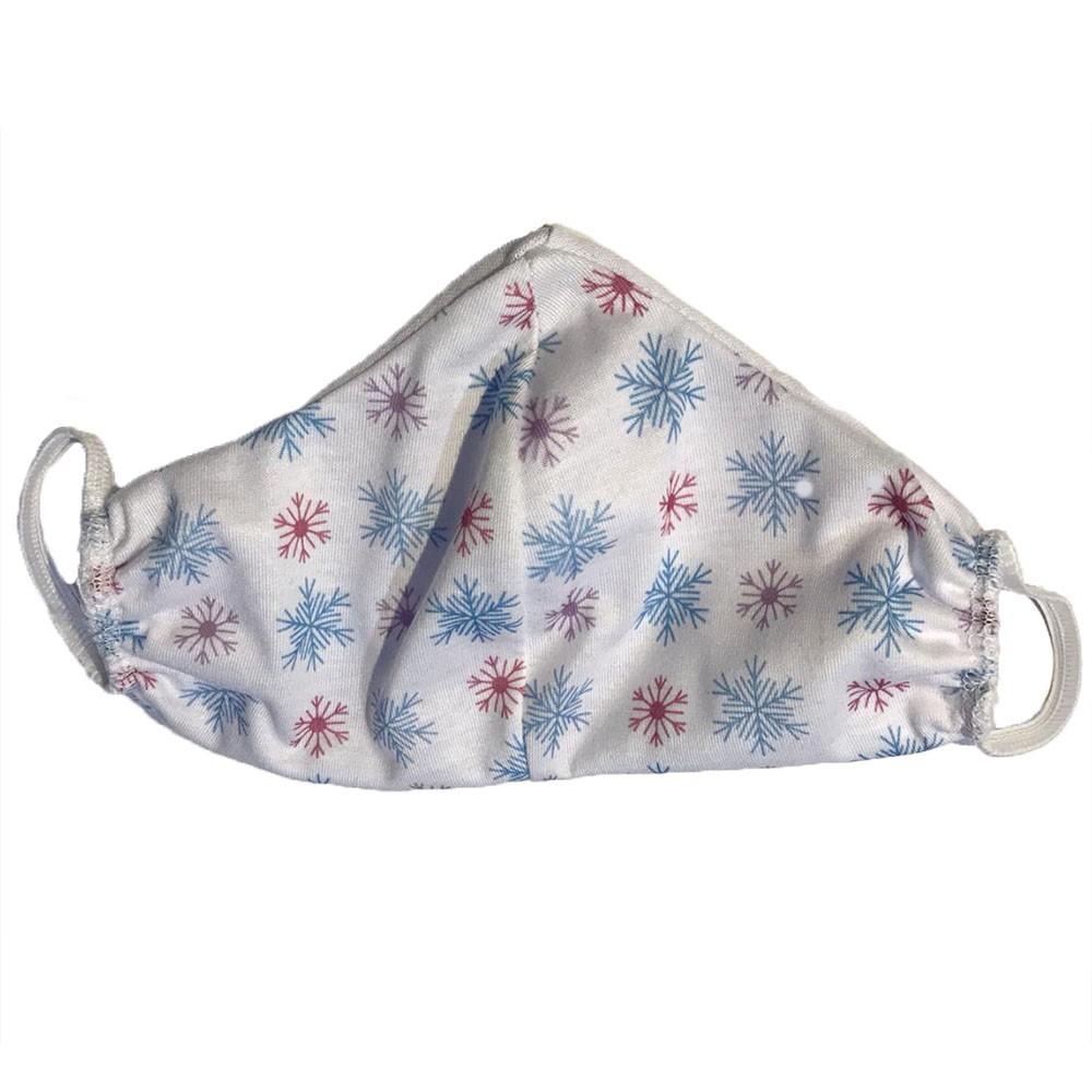 Máscara Infantil Tecido Algodão Lavável 1un - Flocos de Neve