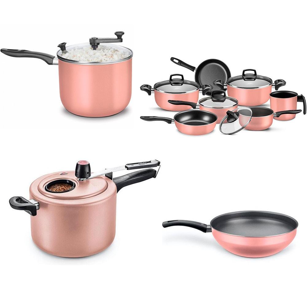 Kit Panela de pressão, Panela wok, Conjunto Madri 7 peças, Pipoqueira