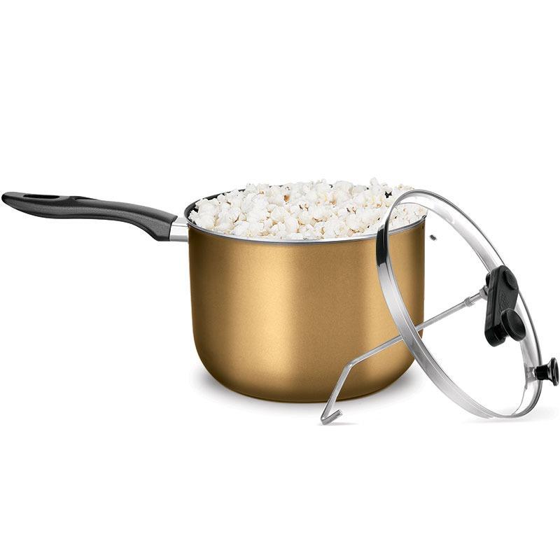 Pipoqueira Antiaderente Gold Supra N22 Tampa De Vidro - 4,8 Litros Mta