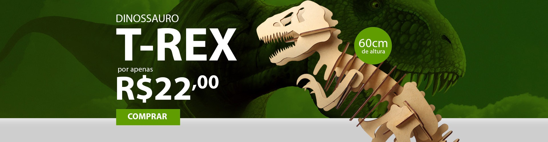 Dinossauro T-Rex Tiranossauro Rex MDF 3mm Cru Brinquedos Yper Criativo