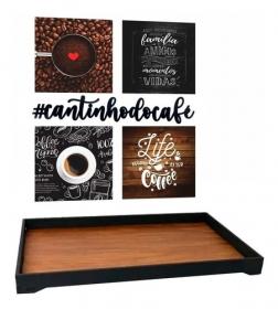Bandeja Grande Cafeteira Quadros Café Frase Decorativa