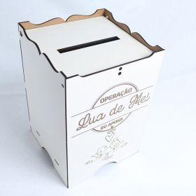 Caixa Casamento Operação Lua De Mel Para Envelope Mdf Branco