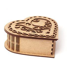 Caixa Coração Grande 17,5cm com Tampa Arabesco de Encaixe - Recorte Especial em MDF CRU - Yper Criativo