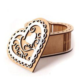 Caixa Coração Romantico Madeira