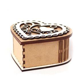 Caixa Coração Romantica Branca Personalizada com Inicial 12cm - Yper Criativo