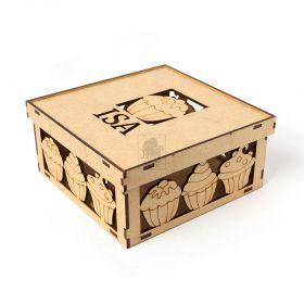 Caixa Cupcake com Nome e Recorte Especial a Laser MDF 3mm - Yper Criativo