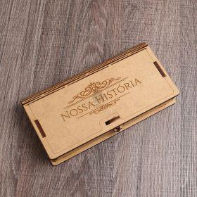 Caixa Para Pendrive Trabalhada e Com Fecho de Proteção Modelos MDF Cru