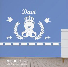 Painel Decorativo para Quarto Urso com Coroa e Passaros - MDF Yper Criativo