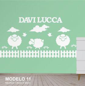 Painel Decorativo para Quarto Infantil Carneirinhos Cerquinha Nuvem MDF Yper Criativo
