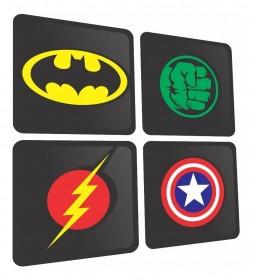Kit 4 Quadros Decorativos Alto Relevo 3d Super Heróis Mdf