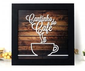 Kit 4 Quadros Decorativos Cantinho Do Café Moldura Preta