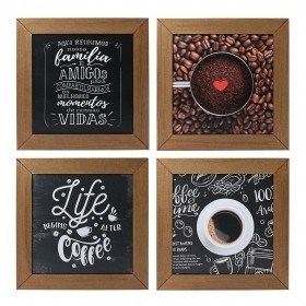 Kit 4 Quadros Decorativos Cantinho Do Café Rústico
