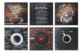 Kit Cantinho Do Café 6 Quadros Decorativos