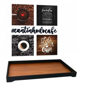 Kit Cantinho Do Café Bandeja Quadros Frase Decorativa