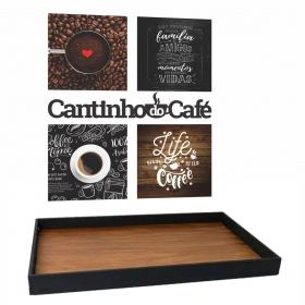 Kit Cantinho Do Café Com Bandeja E Quadros Placas Frase