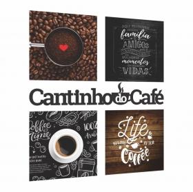 Kit Cantinho Do Café Com Bandeja E Quadros Placas Frase