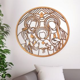 Mandala Sagrada Familia Quadro Decorativo mdf 50cm