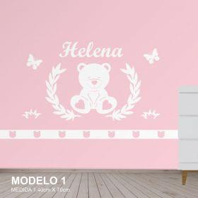 Painel Decorativo Quarto Infantil Urso Borboletas Mdf Cru