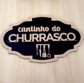 Placa Cantinho Do Churrasco Madeira mdf Fundo preto