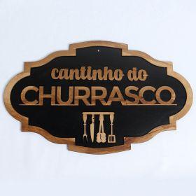 Placa Cantinho Do Churrasco Madeira Rustica mdf