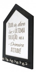 Porta Chaves Branco Com Frase Borda Preta Gravado Madeira