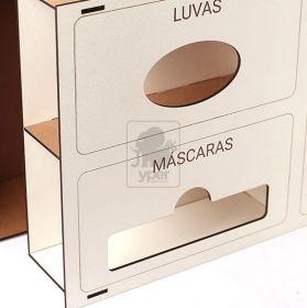Porta Display Toucas Luvas Mascaras MDF Branco Laminado Laqueado Gaveta para Caixas - Yper Criativo