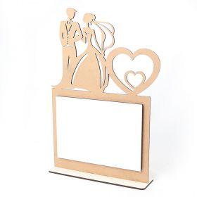 Porta Retrato Casal Noivos Laminado Branco Vertical Casamento Foto 10x15cm MDF - Yper Criativo