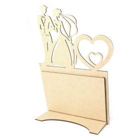 Porta Retrato Casal Noivos Vertical Casamento Foto 20x15cm MDF Cru - Yper Criativo