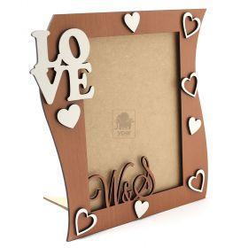 Porta Retrato Love Corações Branco MDF Amadeirado 3mm - Yper Criativo