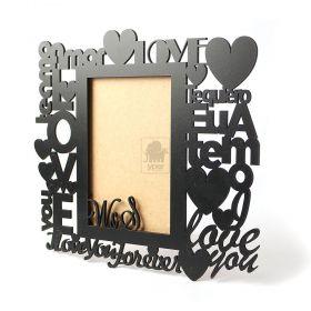 Porta Retrato Personalizado Inicias - Modelo Palavras de Amor - MDF Preto - Yper Criativo