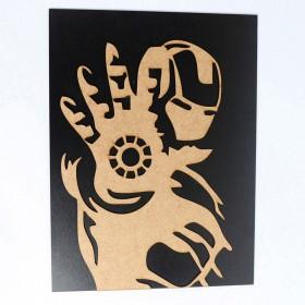 Quadro Homem De Ferro Mdf 3d Preto/madeira 40x30cm