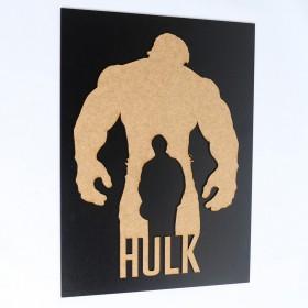 Quadro Hulk Alto Relevo Mdf 3d Preto/madeira 40x30cm