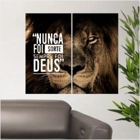 Quadro Painel Leão De Judá Nunca Foi Sorte Sempre Foi Deus