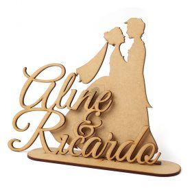 Topo De Bolo Para Casamento Nome Personalizado Noivos Casal Mdf Cru - Yper Criativo