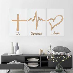 Trio de Quadros Decorativos Fé Esperança Amor