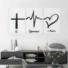 Trio de Quadros Decorativos Fé Esperança Amor Preto e Branco
