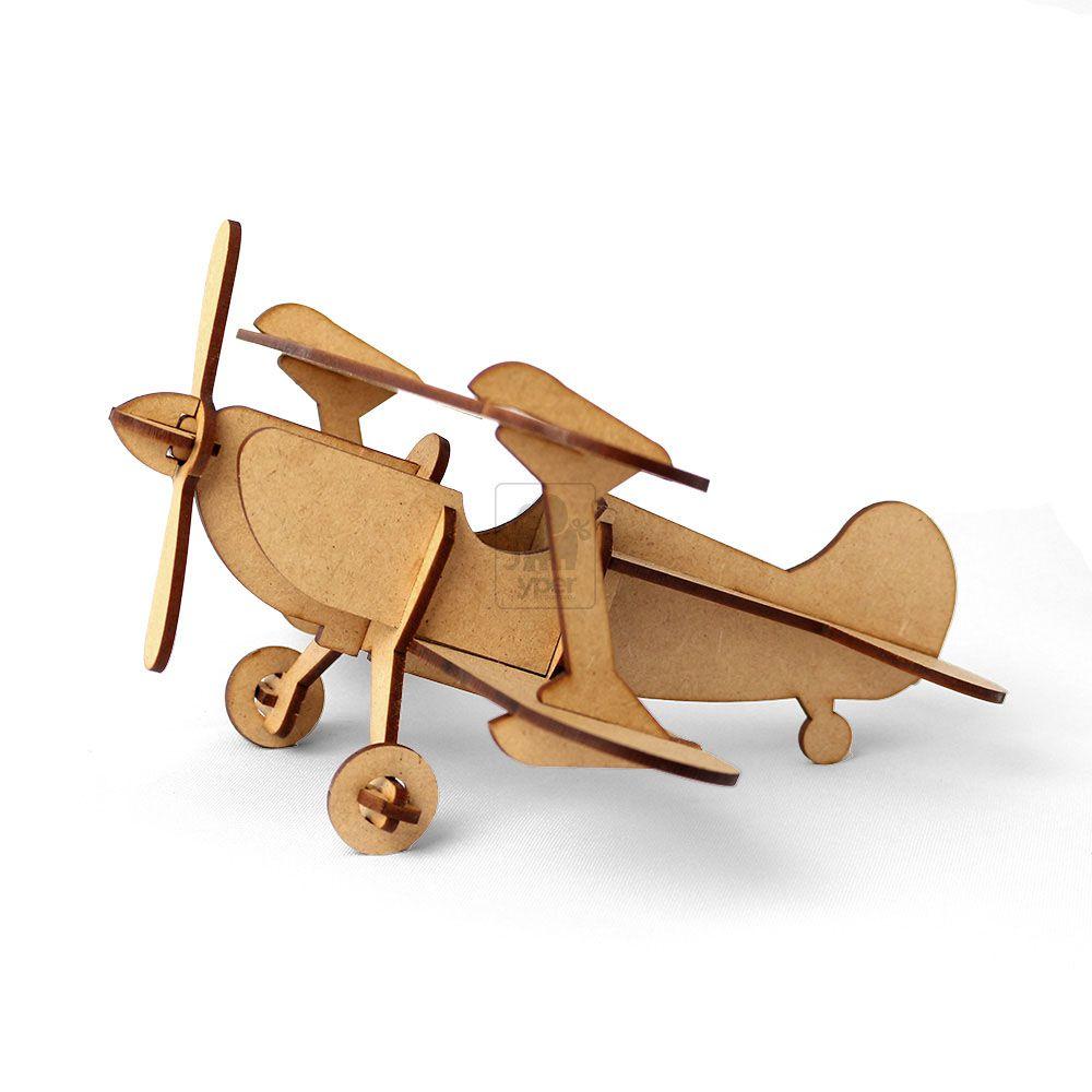 Avião 3d Biplano Em Madeira Mdf