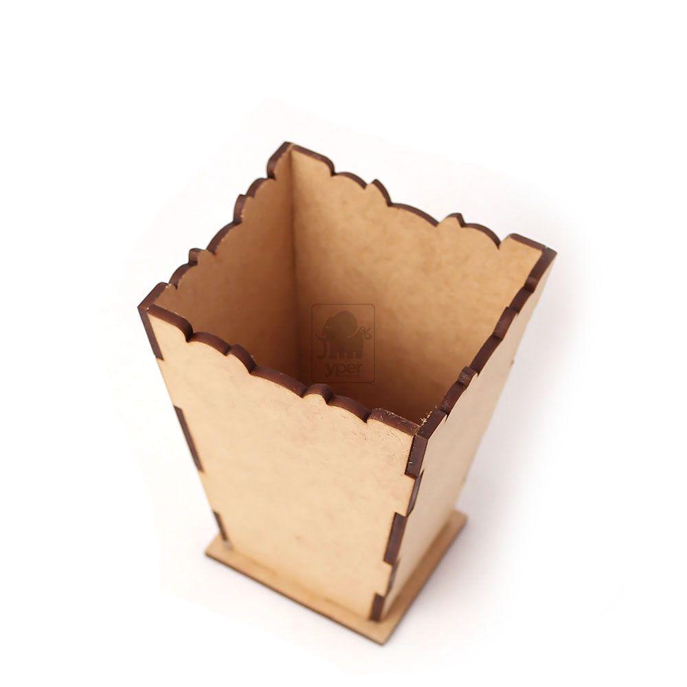 Cachepô Mini Vaso topo trabalhado estilo cone MDF Cru - Yper Criativo