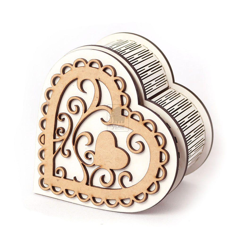 Caixa Coração Romantico Branco