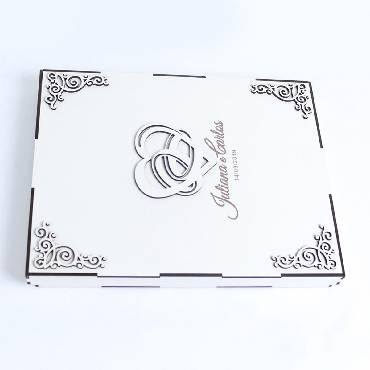 Caixa Para Álbum De Fotografia Gravado Nome Casal Data Mdf