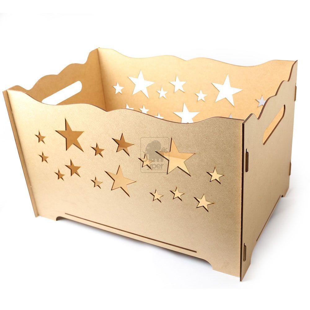Caixa Porta Presentes Decoração Festas Estrela MDF Provençal