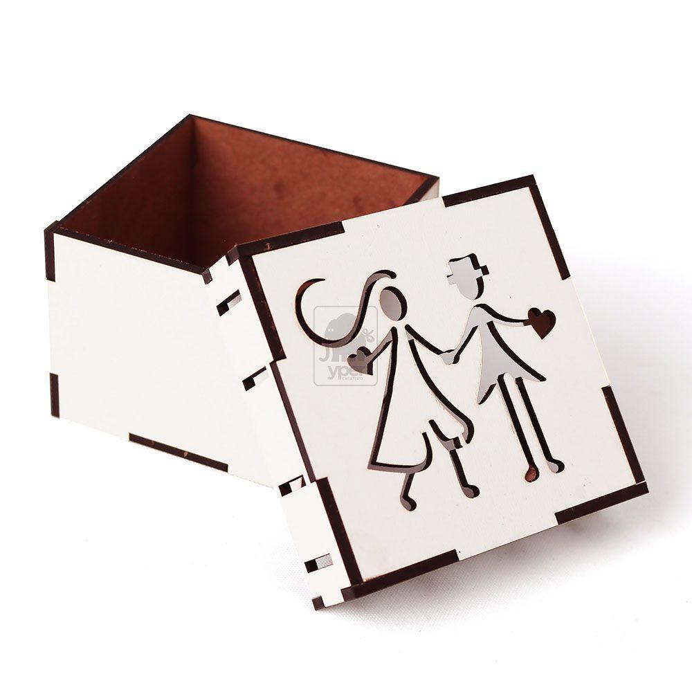 Kit 10 Caixa Passa Fita Casal Noivo Mdf Branco
