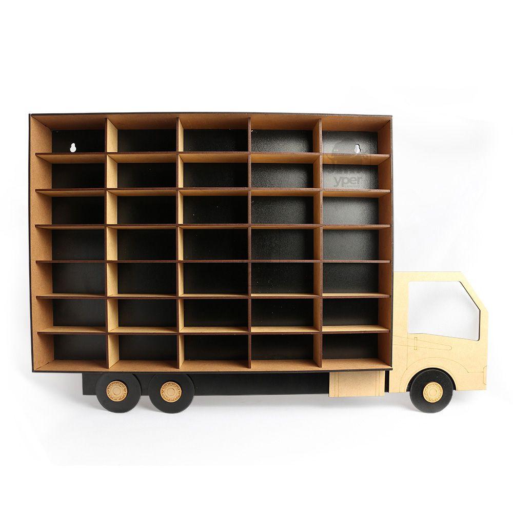 Caminhão Porta Carrinhos Hot Wheels 35 Div Mdf