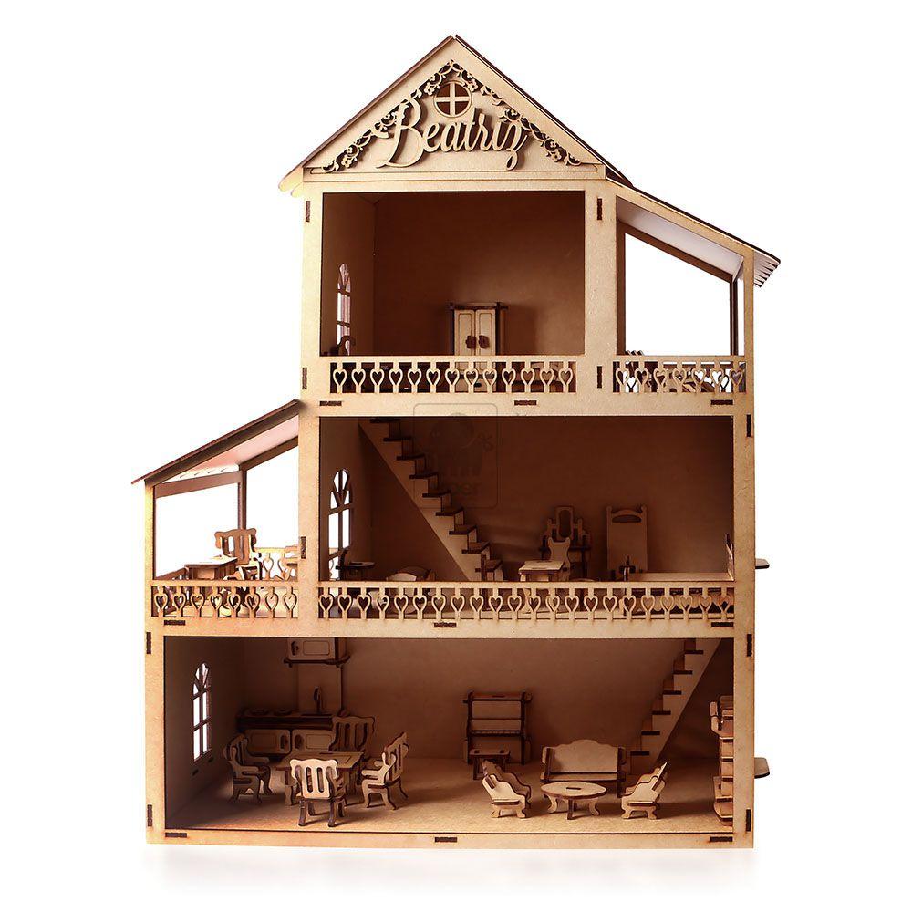 Casinha de Boneca Polly com 32 Móveis e nome personalizado - MDF 3mm - Yper Criativo