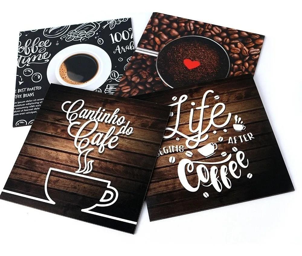 Kit 4 Quadros Decorativos Cantinho Do Café