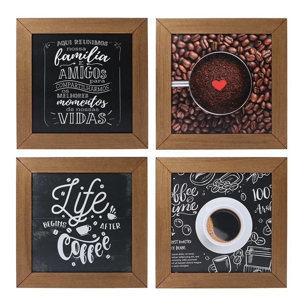 Kit 4 Quadros Decorativos Cantinho Do Café Rústico