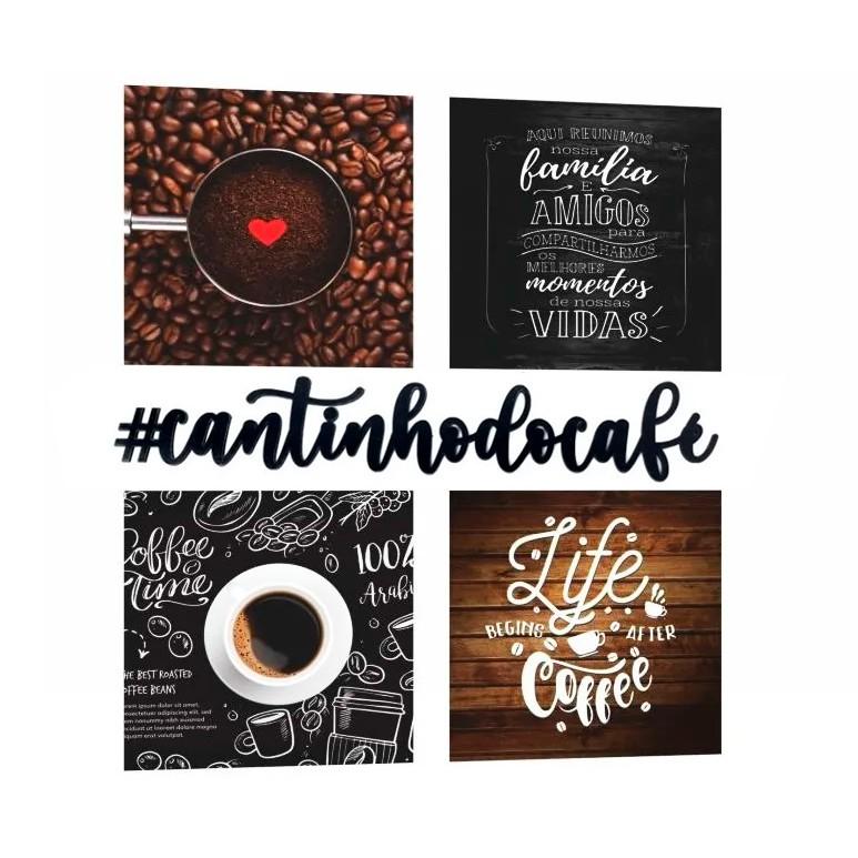 Kit Cantinho do Café com Bandeja Quadros e Frase Decorativa