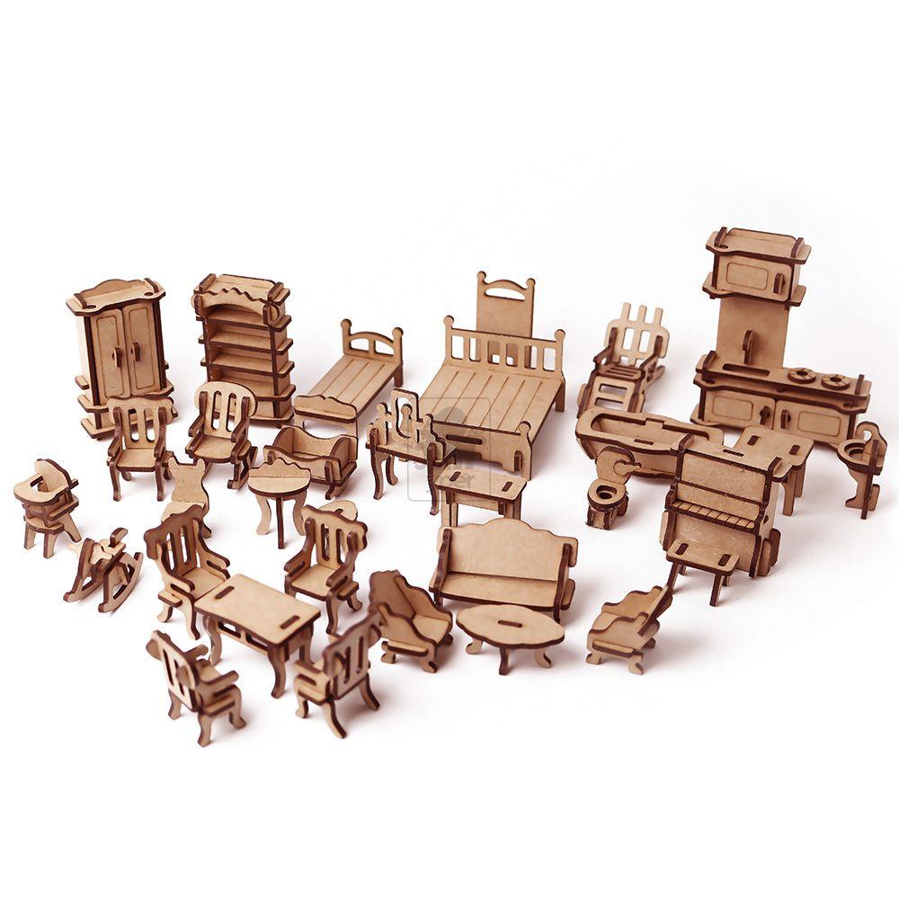 Móveis para casinha de boneca - Lol Polly - 32 Móveis em MDF 3mm - Yper Criativo
