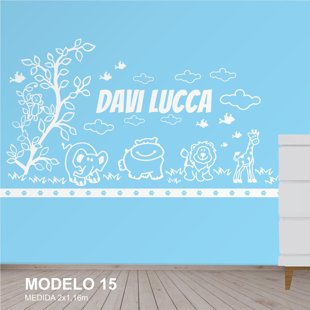Painel Decorativo Quarto Infantil Animais Safari 2m Mdf