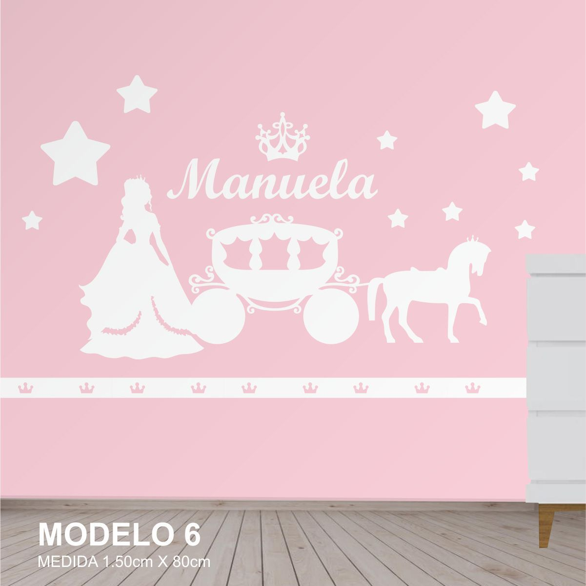 Painel Decorativo Quarto Infantil Princesa Carruagem Mdf